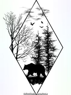 Instead of a bear, I'd want a deer Source tattoo designs, tattoo, small tattoo, meaningful tatto Trendy Tattoos, New Tattoos, Cool Tattoos, Cool Drawings, Tattoo Drawings, Tattoo Art, Natur Tattoos, Forest Tattoos, Compass Tattoo