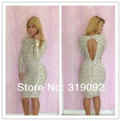 Free shipping 2014 New Novelty print long sleeves hollow out Celebrity Dress Bodycon night Club Party Sexy Slim Dresses S M L