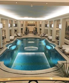 Indoor Swimming Pool Ideas - You want to build a Indoor swimming pool? Here are some Indoor Swimming Pool designs and ideas for you. Luxury Swimming Pools, Luxury Pools, Dream Pools, Swimming Pool Designs, Amazing Swimming Pools, Luxury Cars, Pool Fashion, Mansion Interior, Mansion Homes
