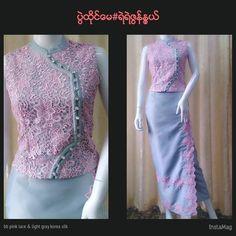 Myanmar Traditional Dress, Thai Traditional Dress, Traditional Dresses Designs, Traditional Outfits, Myanmar Dress Design, Dress Brokat, Culture Clothing, Batik Fashion, Sunday Dress