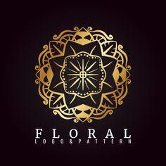 Golden Flower Logo Template Premium Download