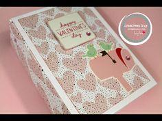 Tutorial Mini Album Scrapbook para San Valentin. Encuadernacion de espina * Creaciones Izzy - YouTube