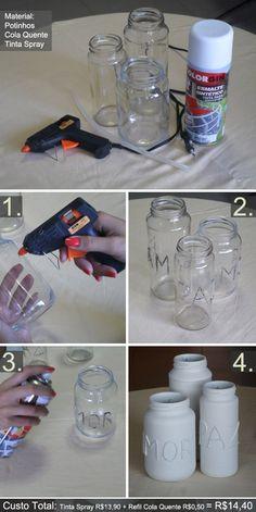 Reutilizando potes de vidro.