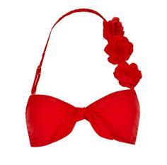 red flower strap bikini top