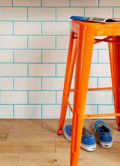 Colored Grout | Blue Grout White Tile