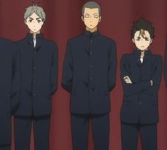 I've reblogged this before but I'm doing it again because: A. Noya looks so very uncomfortable in front of a crowd. Probably because he's not allowed to move and that's the worst thing to do to such an energetic child. B. Tanaka thinks he's being so very very sneaky. C. Suga DOESN'T EVEN LOOK. He just slaps that hand out of the air on pure instinct. Those are some top-notch mom skills, they are.