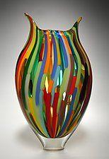 "Mixed Cane Foglio by David Patchen (Art Glass Vessel) (15"" x 9"")"
