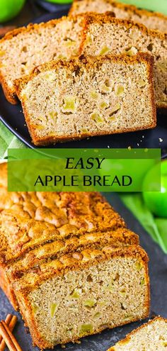 This homemade Easy Apple Bread is filled with warm cinnamon and fresh apples! It's so soft, moist and dense with a perfectly crispy crust! It's the perfect fall breakfast or snack recipe! Apple Recipes, Snack Recipes, Dessert Recipes, Snacks, Delicious Desserts, Yummy Food, Breakfast Bread Recipes, Fall Breakfast, Apple Bread