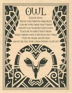 Owl Prayer Poster Book Of Shadows Page Wiccan Pagan Witch Shaman Totem Animal Spirit Guides, Spirit Animal Owl, Owl Animal, Owl Eyes, Owl Always Love You, Let It Be, Pagan Witch, Witches, Wicca Witchcraft