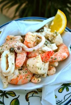 Scrumpdillyicious: Poached Seafood Salad with Lemon Dill Sauce - OP subbed greek.Scrumpdillyicious: Poached Seafood Salad with Lemon Dill Sauce - OP subbed greek yogurt for sour creamSeafood, edible aquatic animals, excluding mammals, but including Greek Recipes, Fish Recipes, Seafood Recipes, Salad Recipes, Cooking Recipes, Healthy Recipes, Octopus Recipes, Seafood Salad, Seafood Dishes