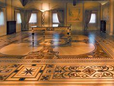 "Wood Flooring Laser Inlays - ""BERTI SUITE"" - Villa del Conte - Padua - Elaborate laser inlays floor perfected with mother-of-pearl. #parquet #parquetlovers"