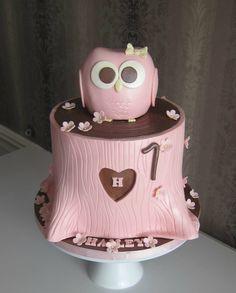 Pink + Brown Owl Cake.
