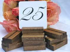 Rustic Wedding Wood Sign Holder/Table Number Holders- (Set of 10) on Etsy, $16.50