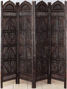 Finely Carved 4- Panel Wood Privacy Screen