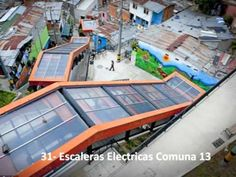 The City built a outdoor escalator as part of a broader plan to reduce crime and instill pride in slums and install public transportation linked to newly built parks and libraries that encourage people to reclaim their communities Ramp Stairs, Colombia South America, Vernacular Architecture, Modern Staircase, Modern City, Urban Planning, Old City, Urban Landscape, Public Transport