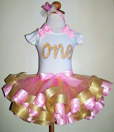 One Pink & Gold Ribbon Trimmed 1st Birthday by Sparkleshinetutus
