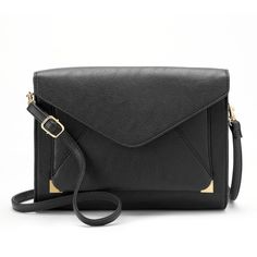 Apt. 9® Anna Crossbody Clutch ($23) ❤ liked on Polyvore featuring bags, handbags, clutches, black, vegan leather purse, faux leather purse, faux leather crossbody, vegan handbags and faux-leather handbags