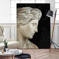 It gives a wow factor to any room decor. All you need is a large bold piece of art to give an instant stylish upgrade. Because of its dimensions, we have patented a clever solution to allow huge canvas pr Greek Paintings, Classic Paintings, White Art, Black And White, Giant Wall Art, Ancient Greek Sculpture, Oversized Wall Art, Fashion Wall Art, Greek Art