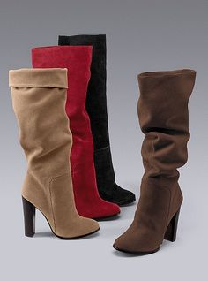 """fun, festive red boot      Please complete the missing information highlighted below and click """"Add to Bag"""".        Colin Stuart®    39 of 48      Suede Slouchy Boot    Pulls on. Imported suede. 4 3/4"""" heel."""