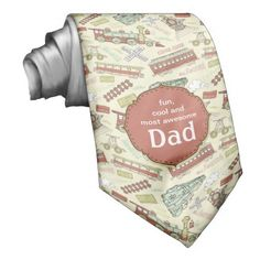 Train Station Dad Custom Tie. Fun retro look train engine and station accents with banner saying Fun, cool and most awesome DAD.