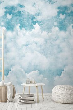 This romantic wallpaper opens heavenly heights to all those who want to float on clouds. They are soft as candy floss and form a gorgeous pattern. Shabby Chic Wallpaper, Bathroom Wallpaper, Vinyl Wallpaper, Cute Wallpaper Backgrounds, Pattern Wallpaper, White Wallpaper, Latest Wallpapers, Blue Wallpapers, Shabby Chic Tapete