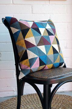 Embroidered Geometric Harlequin Cushion - Cotton & Wool - Niki Jones