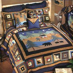 Lodge Podge Bedding, Quilts and Bath, Lodge Bedding, Quilt Sets Log Cabin Designs, Log Cabin Kits, Log Cabin Homes, Wildlife Quilts, Log Home Decorating, Country Quilts, Rustic Bedding, King Bedding Sets, Quilt Sets