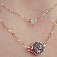 Herkimer diamond pendant necklaces now available! In your choice of Gold Filled, Rose Gold Filled or Sterling Silver. #theloveleighlocket #etsy #Herkimerdiamonds #Herkimerdiamondnecklace
