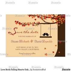 *TOP PIC** REPLACE BIRDS WITH PIC - Love Birds Falling Hearts Oak Tree Save the Date Card