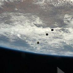 three nanosatellites, known as Cubesats