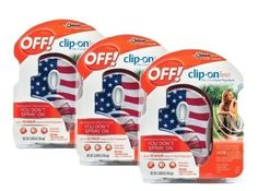 awesome Off! Clip on Mosquito Repellent American Flag Design (Pack of 3) - For Sale