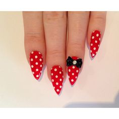 Red Bow Stiletto nails, Nail designs, Nail art, Nails, Stiletto nails,... ($23) ❤ liked on Polyvore featuring beauty products, nail care, nail treatments, nails and beauty