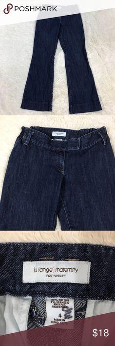 """Liz Lange Wide Leg Maternity Jeans Size 4 Women's maternity size 4 dark wash Liz Lang Maternity (for Target) wide leg, expandable waist jeans. 99% cotton, 1% spandex.  Waist: 15"""" (Expandable) Length: 39.5"""" Inseam: 31"""" Liz Lange Jeans Flare & Wide Leg"""