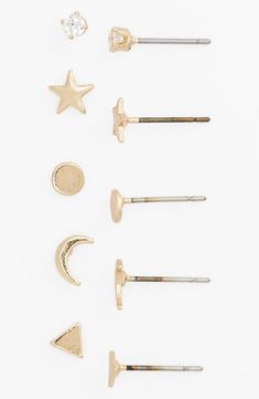 Crazy about this sparkly gold earring set! Love all five styles.