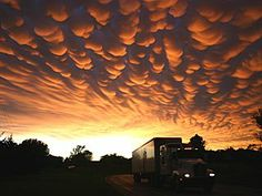 Mammatus clouds over Valentine, Nebraska after passage of supercell storms, May 2010.