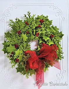 KC Martha Stewart Holly Punch and branch punch Christmas Paper Crafts, Christmas Cards To Make, Christmas Tag, Christmas Greetings, Handmade Christmas, Holiday Cards, Christmas Wreaths, Scrapbook Christmas Cards, Martha Stewart Christmas