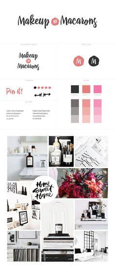 Makeup and Macarons Blog design   WordPress   Black, Gray, pink, orange   Branding by @WhiteOakCreativ