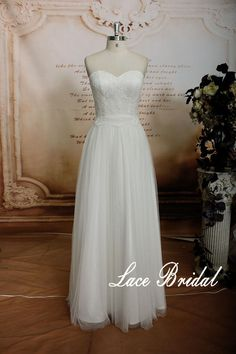 Lace Wedding Gown applique Bridal Gown Floorlength by LaceBridal, $220.00