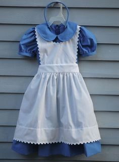 Child size 4/5 Alice in Wonderland costume dress apron by janseams, $26.00....wondering if right now would be too early to buy Natalie's Halloween costume? She wants to be Alice and at $26 this handmade costume is too cute to pass up!