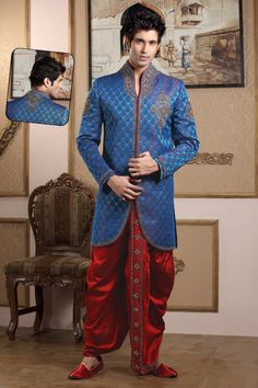 Two Tone Dhoti Sherwani In Blue And Maroon Color BUY HERE: <3 http://www.gravity-fashion.com/10210-two-tone-dhoti-sherwani-in-blue-and-maroon-color.html <3  £230.89