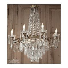 antique crystal   Antique Italian Bronze and Crystal Chandelier