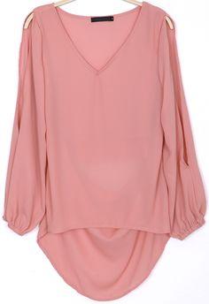 Pink Split Sleeve V Neck Embroidered Chiffon Blouse US$29.67