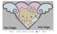 HELLO KITTY ANGEL IN HEART WITH WINGS by VALNI DESIGNS