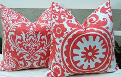 Coral Pillows Decorative Throw Pillow Covers by FestiveHomeDecor, $32.00