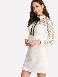 SheIn offers Daisy Lace Sleeve Tie Neck Tweed Dress & more to fit your fashionable needs. Royal Dresses, Cute Dresses, Beautiful Dresses, Casual Dresses, Summer Dresses, Chic Outfits, Fashion Outfits, Womens Fashion, Short Floral