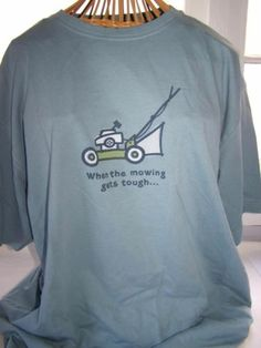 NWT Men's Life Is Good Slate Blue When The Mowing Gets Tough T Shirt Large