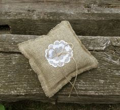 $16, Burlap Wedding Ring Pillow, Cushion with White Lace Flower Applique