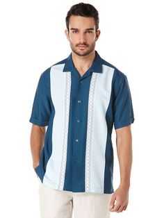 Short Sleeve Tri-Color Panel Shirt With Ombre Geo Embroidery, Blue Wing Teal