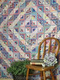 Stunning-THE-BEST-Small-Scale-VINTAGE-LOG-CABIN-Feedsack-Prints-QUILT