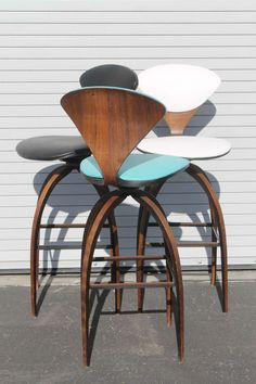 3 Norman Cherner Swivel Plycraft Counter Stools image 4